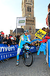 Astana Pro Team's Borut Bozic (SLO) signs autographs at sign on before the start of the 96th edition of The Tour of Flanders 2012 in Bruges Market Square, running 256.9km from Bruges to Oudenaarde, Belgium. 1st April 2012. <br /> (Photo by Eoin Clarke/NEWSFILE).
