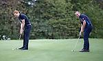 Hibernian's Liam Craig and Kris Boyd of Rangers at Glenbervie Golf Club as they look ahead to next week's Rangers v Hibs clash at Ibrox