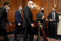 United States Representative Joe Neguse (Democrat of Colorado), US Representative Eric Swalwell (Democrat of California), US House Majority Leader Steny Hoyer (Democrat of Maryland), and US Representative David Cicilline (Democrat of Rhode Island) leave an engrossment ceremony for H.R. 24, an article of impeachment against President Donald Trump, on Wednesday, January 13, 2021 at the U.S. Capitol.<br /> Credit: Greg Nash / Pool via CNP /MediaPunch