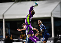 LAKE BUENA VISTA, FL - JULY 26: Thomas Hasal of Vancouver Whitecaps FC catches a cross during a game between Vancouver Whitecaps and Sporting Kansas City at ESPN Wide World of Sports on July 26, 2020 in Lake Buena Vista, Florida.