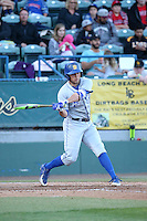 Kyle Plantier (22) of the UC Santa Barbara Gauchos bats against the Cal State Long Beach Dirtbags at Blair Field on April 1, 2016 in Long Beach, California. UC Santa Barbara defeated Cal State Long Beach, 4-3. (Larry Goren/Four Seam Images)