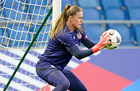 LE HAVRE, FRANCE - APRIL 13: Alyssa Naeher #1 of the United States warming up before a game between France and USWNT at Stade Oceane on April 13, 2021 in Le Havre, France.