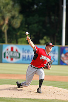 Carolina Mudcats pitcher Brandon Barker (47) on the mound during game one of a doubleheader against the Myrtle Beach Pelicans at Ticketreturn.com Field at Pelicans Ballpark on June 6, 2015 in Myrtle Beach, South Carolina. Carolina defeated Myrtle Beach 1-0. (Robert Gurganus/Four Seam Images)