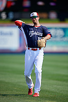 Reading Fightin Phils second baseman Brandon Bednar (19) warms up before the first game of a doubleheader against the Portland Sea Dogs on May 15, 2018 at FirstEnergy Stadium in Reading, Pennsylvania.  Portland defeated Reading 8-4.  (Mike Janes/Four Seam Images)