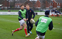 London Scottish Football Club players warm up ahead of their fixture with Ealing Trailfinders in the Greene King IPA Championship match between London Scottish Football Club and Ealing Trailfinders at Richmond Athletic Ground, Richmond, United Kingdom on 26 December 2015. Photo by Alan  Stanford / PRiME Media Images