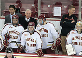 Mike Ayers (BC - Assistant Coach), Destry Straight (BC - 17), Jerry York (BC - Head Coach), Michael Sit (BC - 18), Brendan Silk (BC - 9), Bert Lenz (BC - Director-Sports Medicine), Brad Barone (BC - 29) - The Boston College Eagles defeated the visiting University of Wisconsin Badgers 9-2 on Friday, October 18, 2013, at Kelley Rink in Conte Forum in Chestnut Hill, Massachusetts.