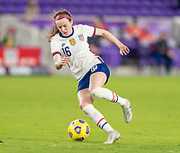 ORLANDO, FL - JANUARY 22: Rose Lavelle #16 of the USWNT dribbles during a game between Colombia and USWNT at Exploria stadium on January 22, 2021 in Orlando, Florida.