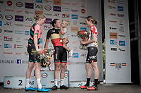 young mum Jesse Vandenbulcke (BEL/Doltcini - Van Eyck Sport) is the 2019 Belgian National Champion WE - Road Race (NC) & her son Fabian (named after Cancellara) joins her during the podium ceremony<br /> <br /> 1 day race from Gent to Gent (120km)<br /> <br /> ©kramon