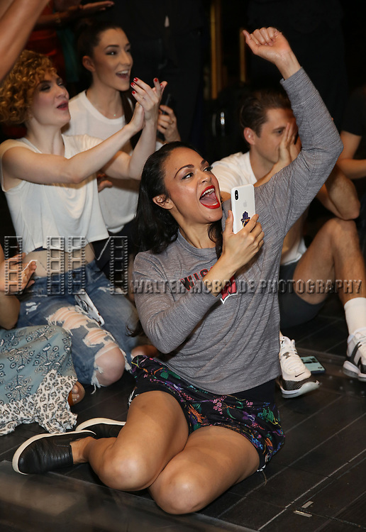"""Karen Olivo during the Broadway Opening Night Legacy Robe Ceremony honoring Bahiyah Hibah for  """"Moulin Rouge! The Musical"""" at the Al Hirschfeld Theatre on July 25,2019 in New York City."""
