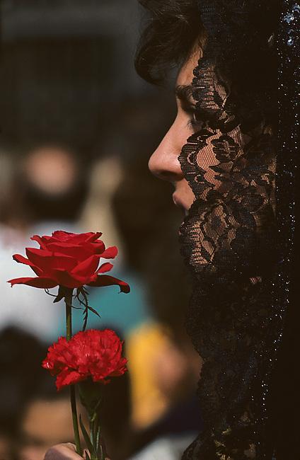 Woman & Rose, Pilar Festival, Zaragoza, Aragon, Spain