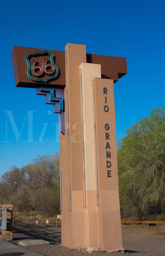 Albuguergue New Mexico famous Route 66 on Rio Grande River signage on bridge in nostalgic 50s travel on Central Avenus of 66