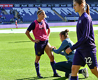 Laura Deloose (14) of Anderlecht pictured during a female soccer game between RSC Anderlecht Dames and Standard Femina de Liege on the sixth matchday of the 2021 - 2022 season of Belgian Womens Super League , saturday 9 th of October 2021  in Brussels , Belgium . PHOTO SPORTPIX | DAVID CATRY