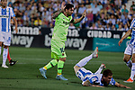 CD Leganes's Raul Garcia and FC Barcelona's Leo Messi during La Liga match between CD Leganes and FC Barcelona at Butarque Stadium in Madrid, Spain. September 26, 2018. (ALTERPHOTOS/A. Perez Meca)