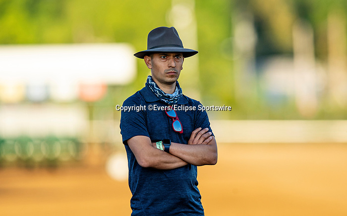 April 27, 2021:  Juan Leyva assistant trainer for Rock Your World at Churchill Downs in Louisville, Kentucky on April 27, 2021. EversEclipse Sportswire/CSM