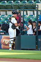 Bradenton Marauders catcher Abrahan Gutierrez (27) signs autographs for young fans before Game Two of the Low-A Southeast Championship Series against the Tampa Tarpons on September 22, 2021 at LECOM Park in Bradenton, Florida.  (Mike Janes/Four Seam Images)