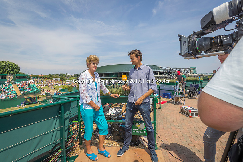 London, England, 6 th July, 2017, Tennis,  Wimbledon, Betty Stove (NED) 40 years ago in 1977 she was in tree finals at Wimbledon, singel, double and mixed is interviewt by Jan-Willem de Lange for Ziggo Sport<br /> Photo: Henk Koster/tennisimages.com
