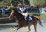 Mark Todd and Grass Valley of New Zealand compete in the cross country phase of the FEI  World Eventing Championship at the Alltech World Equestrian Games in Lexington, Kentucky.
