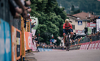 Domenico Pozzovivo (ITA/Bahrain-Merida) crossing the finish line<br /> <br /> stage 16: Trento – Rovereto iTT (34.2 km)<br /> 101th Giro d'Italia 2018