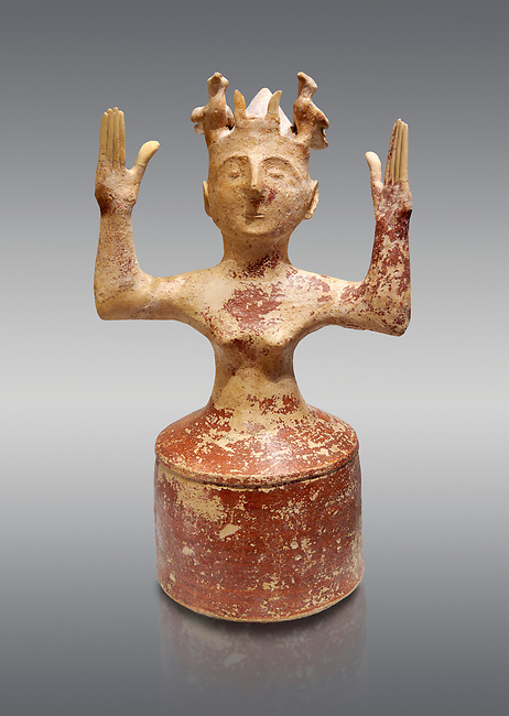 Minoan Postpalatial terracotta  goddess statue with raised arms,  Karphi Sanctuary 1200-1100 BC, Heraklion Archaeological Museum, grey background. <br /> <br /> The Goddesses are crowned with symbols of earth and sky in the shapes of snakes and birds, describing attributes of the goddess as protector of nature.