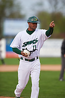 Beloit Snappers manager Lloyd Turner (11) during a Midwest League game against the Lake County Captains at Pohlman Field on May 6, 2019 in Beloit, Wisconsin. Lake County defeated Beloit 9-1. (Zachary Lucy/Four Seam Images)