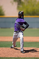 Colorado Rockies relief pitcher Aneudy Duarte (72) delivers a pitch to the plate during an Extended Spring Training game against the Chicago Cubs at Sloan Park on April 17, 2018 in Mesa, Arizona. (Zachary Lucy/Four Seam Images)