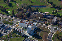 aerial photograph of the Lewis Arts complex, Princeton University, Princeton, Mercer County, New Jersey, Forbes College and a portion of the Springdale Golf Course are in the background