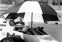 Brazilian driver Emerson Fittipaldi keeps cool after finishing second in yesterday's qualifying session.<br /> <br /> Photo : Boris Spremo - Toronto Star archives - AQP