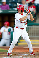 James Rapoport (27) of the Springfield Cardinals at bat during a game against the Northwest Arkansas Naturals at Hammons Field on August 1, 2011 in Springfield, Missouri. Springfield defeated Northwest Arkansas 7-1. (David Welker / Four Seam Images)