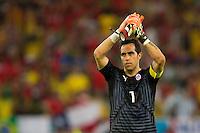 Claudio Bravo of Chile applauds fans
