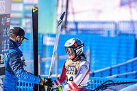 13th February 2021, Cortina, Italy; FIS World Championship Womens Downhill Skiing; Ramona Siebenhofer of Austria reacts after  the womens Downhill Race
