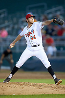 Lansing Lugnuts relief pitcher Brayden Bouchey (34) in action against the South Bend Cubs at Cooley Law School Stadium on June 15, 2018 in Lansing, Michigan. The Lugnuts defeated the Cubs 6-4.  (Brian Westerholt/Four Seam Images)
