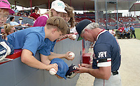 Boston Red Sox Butch Hobson signs autographs during spring training circa 1992 at Chain of Lakes Park in Winter Haven, Florida.  (MJA/Four Seam Images)