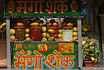 Stall selling mangoes and bananas in the Paharganj district ofNew Delhi, India.