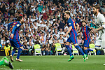 Ivan Rakitic and Leo Messi  of FC Barcelona celebrates after scoring a goal during the match of La Liga between Real Madrid and Futbol Club Barcelona at Santiago Bernabeu Stadium  in Madrid, Spain. April 23, 2017. (ALTERPHOTOS)