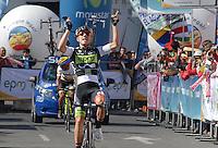 COLOMBIA. 08-08-2014. Weimar Roldan ciclista ganador de la etapa 3, Barbosa – Chiquinquirá – Tunja – 123.2 Km, de la Vuelta a Colombia 2014 en bicicleta que se cumple entre el 6 y el 17 de agosto de 2014. / Weimar Roldan cyclist winner of the stage 3, Barbosa – Chiquinquira – Tunja – 123.2 Km, of the Tour of Colombia 2014 in bike holds between 6 and 17 of August 2014. Photo:  VizzorImage/ José Miguel Palencia / Str