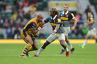 Tom Varndell of Bristol Rugby fends off Marland Yarde of Harlequins during the Aviva Premiership Rugby match between Harlequins and Bristol Rugby at Twickenham Stadium on Saturday 03 September 2016 (Photo by Rob Munro/Stewart Communications)