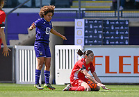 Kassandra Missipo (12) of Anderlecht pictured in a duel with Noemie Gelders (10) of Standard  during a female soccer game between RSC Anderlecht Dames and Standard Femina De Liege on the third matchday of play off 1 of the 2020 - 2021 season of Belgian Womens Super League , saturday 24 th of April 2021  in Brussels , Belgium . PHOTO SPORTPIX.BE   SPP   DAVID CATRY