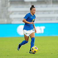 ORLANDO, FL - FEBRUARY 24: Camila #18 of Brazil dribbles during a game between Brazil and Canada at Exploria Stadium on February 24, 2021 in Orlando, Florida.