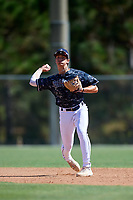 Kamren James during the WWBA World Championship at the Roger Dean Complex on October 18, 2018 in Jupiter, Florida.  Kamren James is a shortstop from Southaven, Mississippi who attends DeSoto Central High School and is committed to Mississippi State.  (Mike Janes/Four Seam Images)