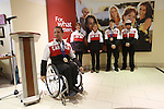 Ottawa, ON - March 28 2014- Sochi 2014 Paralympian and bronze medallist Marc Dorion of the sledge hockey team speaks on behalf of the athletes at the CIBC Paralympic Welcome Home Event at CIBC South Keys Banking Centre in Ottawa (Photo: Patrick Doyle/CIBC)