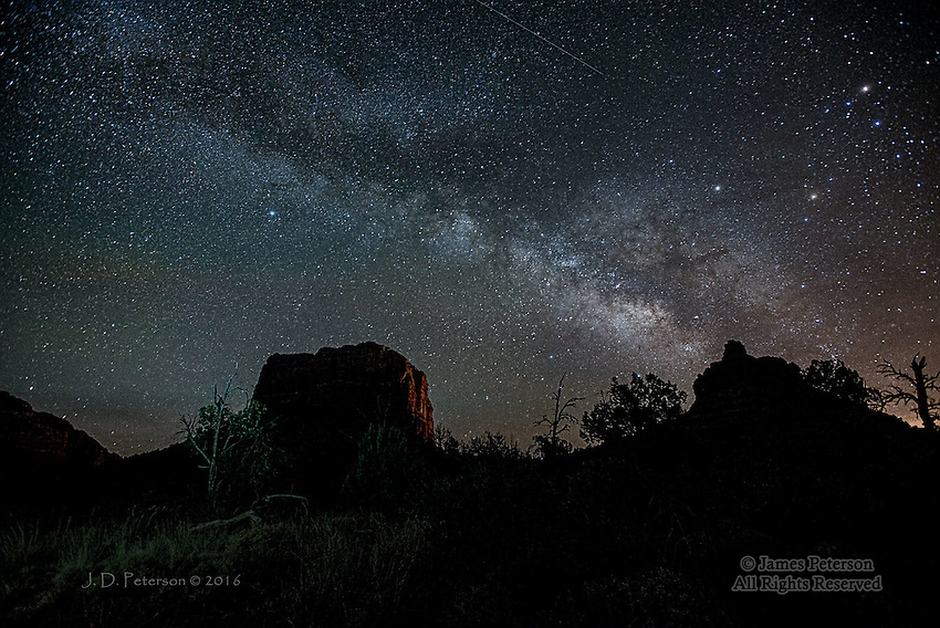 Milky Way and Meteor over Courthouse Vista, Arizona