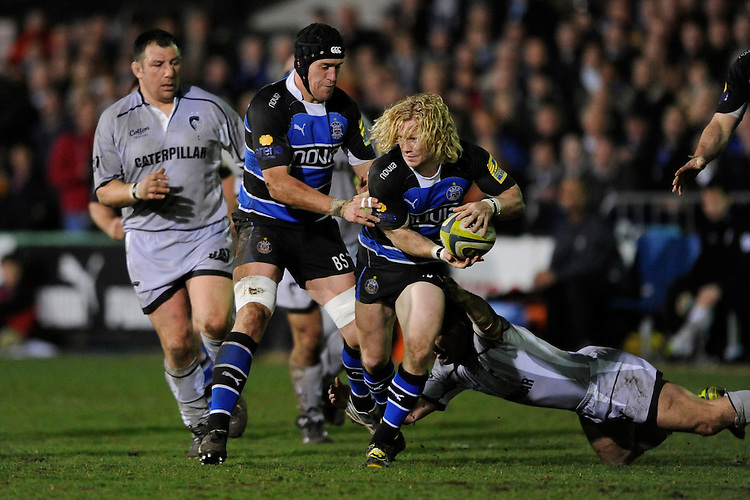 Tom Biggs of Bath Rugby in action during the LV= Cup semi final match between Bath Rugby and Leicester Tigers at The Recreation Ground, Bath (Photo by Rob Munro, Fotosports International)