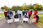 Debenham workers on the 200th day on the picket line in Tralee on Monday.<br /> Kneeling l to r: Trish O'Sullivan, Geraldine O'Regan, Amy Hourigan, Nicholas O'Shea, Liz and Aoibheann O'Donnell.
