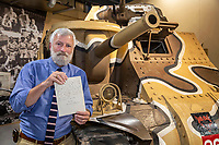 BNPS.co.uk (01202 558833)<br /> Pic: TheTankMuseum/BNPS<br /> <br /> Pictured: Museum curator David Willey with the letter.<br /> <br /> A fascinating letter by Field Marshal Bernard Montgomery expressing how he 'thoroughly enjoyed' facing the Desert Fox in battle has emerged 79 years on.<br /> <br /> The British army commander was pitted against the redoubtable Erwin Rommel during the North African desert campaign of 1942.<br /> <br /> The hand-written two page letter, dated October 6, 1942, was penned to his brother Harold while he was preparing for the decisive Battle of El Alamein, which turned the tide in World War Two.