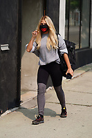 Emma Slater Wearing Big Lip Mask At Dancing With The Stars Rehearsals