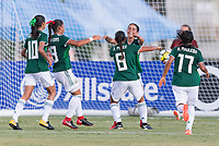 Bradenton, FL - Sunday, June 12, 2018: Nayeli Diaz, Nicole Perez, goal celebration during a U-17 Women's Championship Finals match between USA and Mexico at IMG Academy.  USA defeated Mexico 3-2 to win the championship.