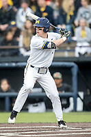 Michigan Wolverines first baseman Jesse Franklin (7) at bat against the Maryland Terrapins on April 13, 2018 in a Big Ten NCAA baseball game at Ray Fisher Stadium in Ann Arbor, Michigan. Michigan defeated Maryland 10-4. (Andrew Woolley/Four Seam Images)