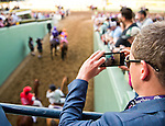 ARCADIA, CA - NOV 04: A fan takes a photo as Beholder #8, ridden by Gary Stevens heads onto the track before winning the Breeders' Cup Distaff at Santa Anita Park on November 4, 2016 in Arcadia, California. (Photo by Scott Serio/Eclipse Sportswire/Breeders Cup)