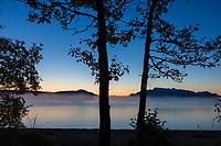 Morning dawn over Naknek lake, Kejulik mountains, Katmai National Park, Alaska.