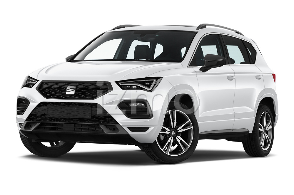 Stock pictures of low aggressive front three quarter view of 2020 Seat Ateca FR 5 Door SUV Low Aggressive
